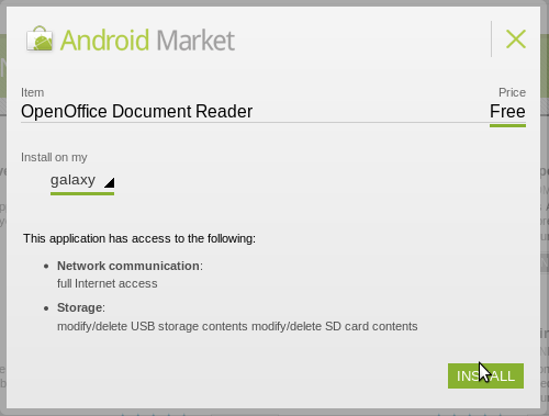įdiek Open Office dokumentų skaitytuvą iš Android Market