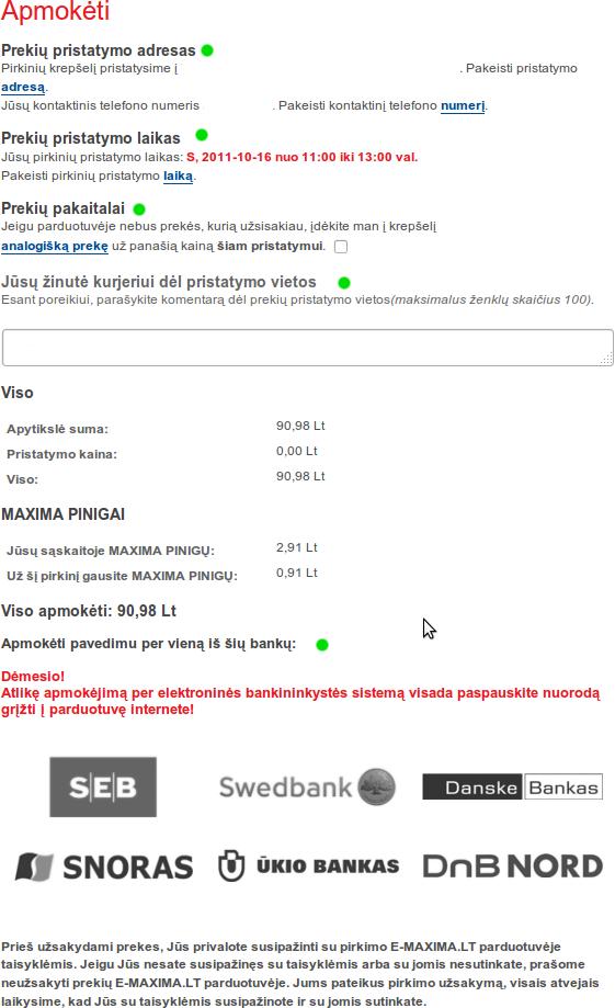 E-Maxima pasirinkti pirkimo parametrus ir apmokėti