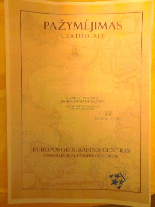 Europos geografinio centro lankytojo pažymėjimas