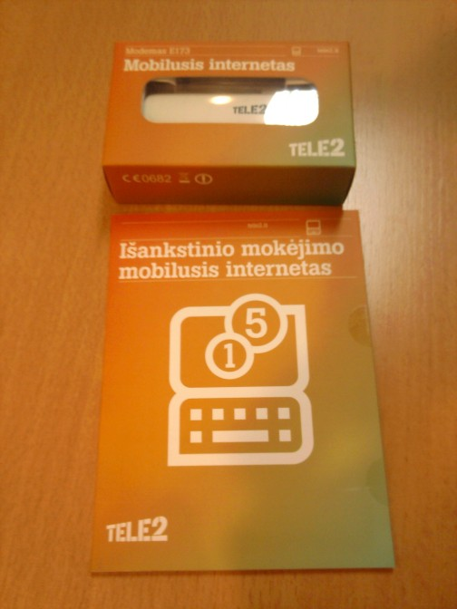 Huawei modemas ir išankstinio mobilaus interneto apmokėjimo kortelė