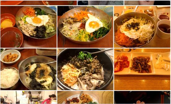 Bibimbap - tradicinis korėjiečių maistas iš ryžių ir daržovių.