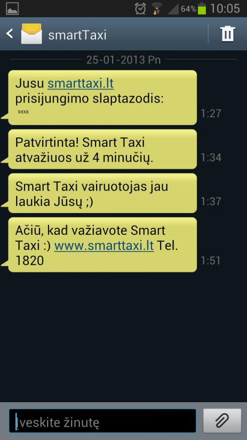 Smart Taxi komunikacija žinutėmis